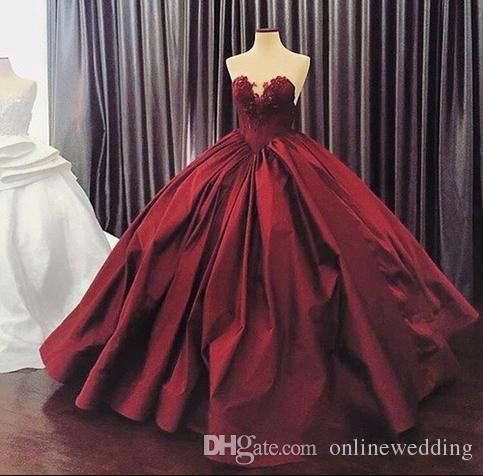 2016 Burgundy Quinceanera Dresses Ball Gown Sweetheart Lace Up Floor