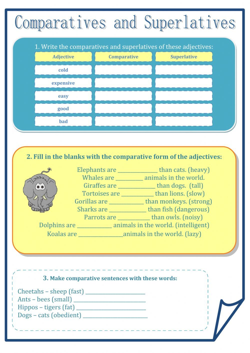 Comparatives and superlatives interactive and downloadable worksheet ...