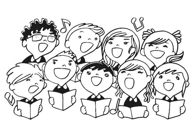Dibujo Para Colorear Coro De Ninos Coro Profesor De Canto Caratulas De Musica