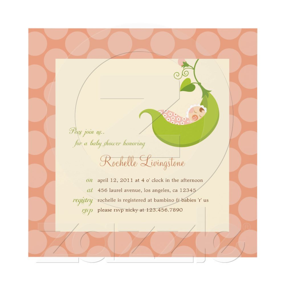 Pea in a Pod Girl Baby Shower Invitation | Shower invitations and Babies