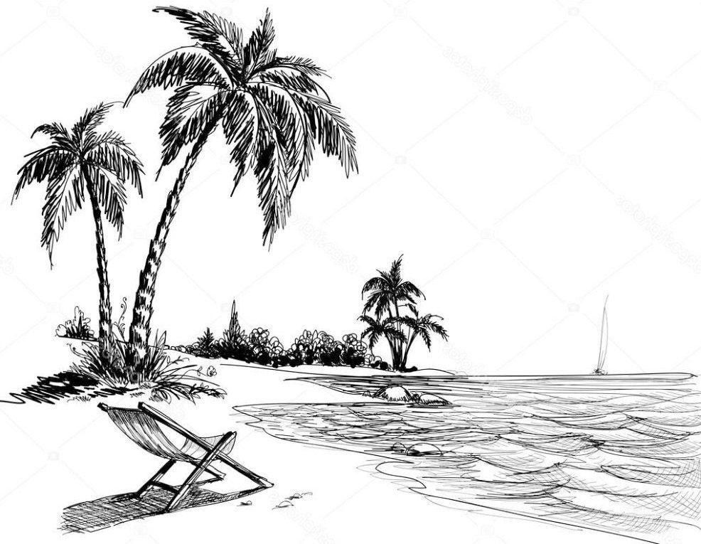 Contoh Sketsa Gambar Pemandangan Pantai  pesonadunia in