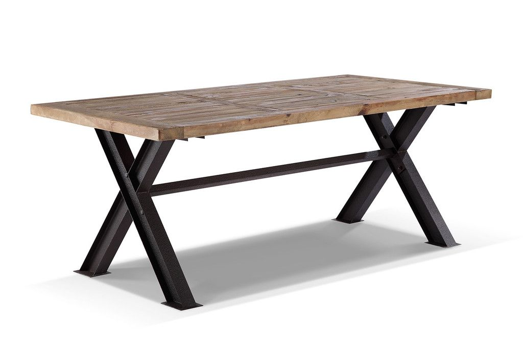 Table de salle manger industrielle en m tal et bois rose moore sall - Table salle a manger metal et bois ...