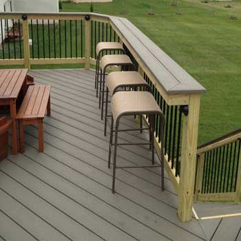 Wood Deck Rail | Decks backyard, Deck seating, Building a deck