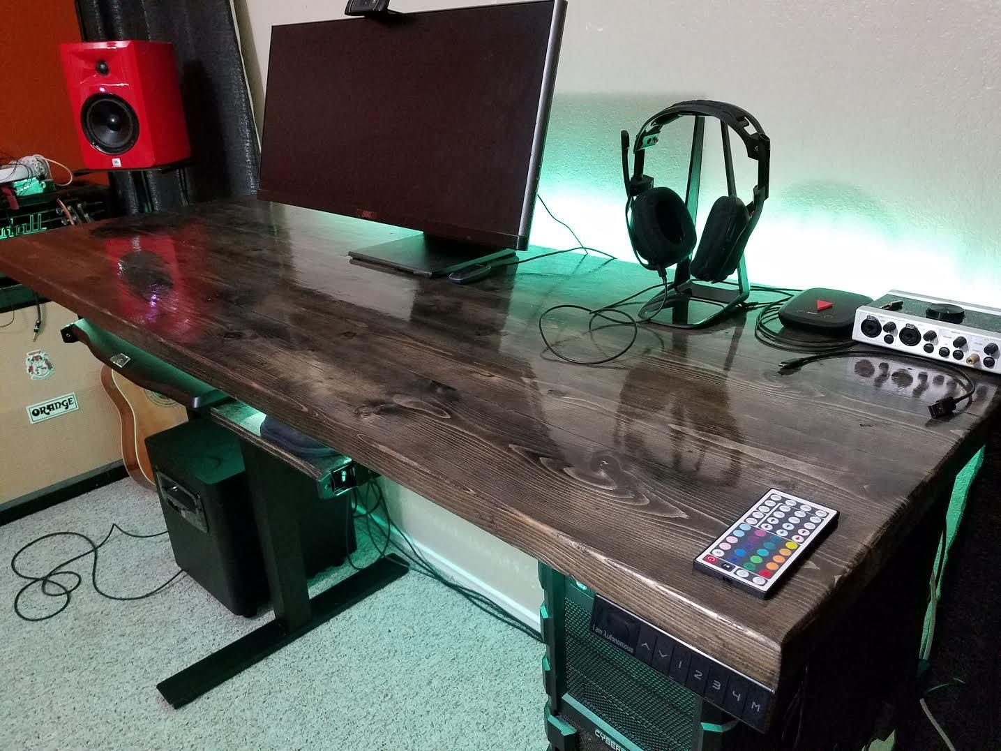 Just built this desk for my friend. Ebony stain and high