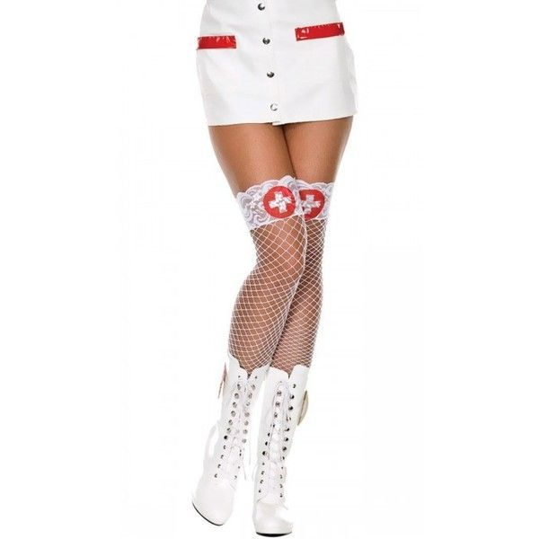 e2d54f82b Lace Top White Fishnet Nurse Thigh High Stockings ( 20) ❤ liked on Polyvore  featuring intimates