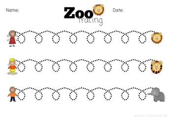 zoo animal tracing lines worksheets color and black and white morning work preschool theme. Black Bedroom Furniture Sets. Home Design Ideas