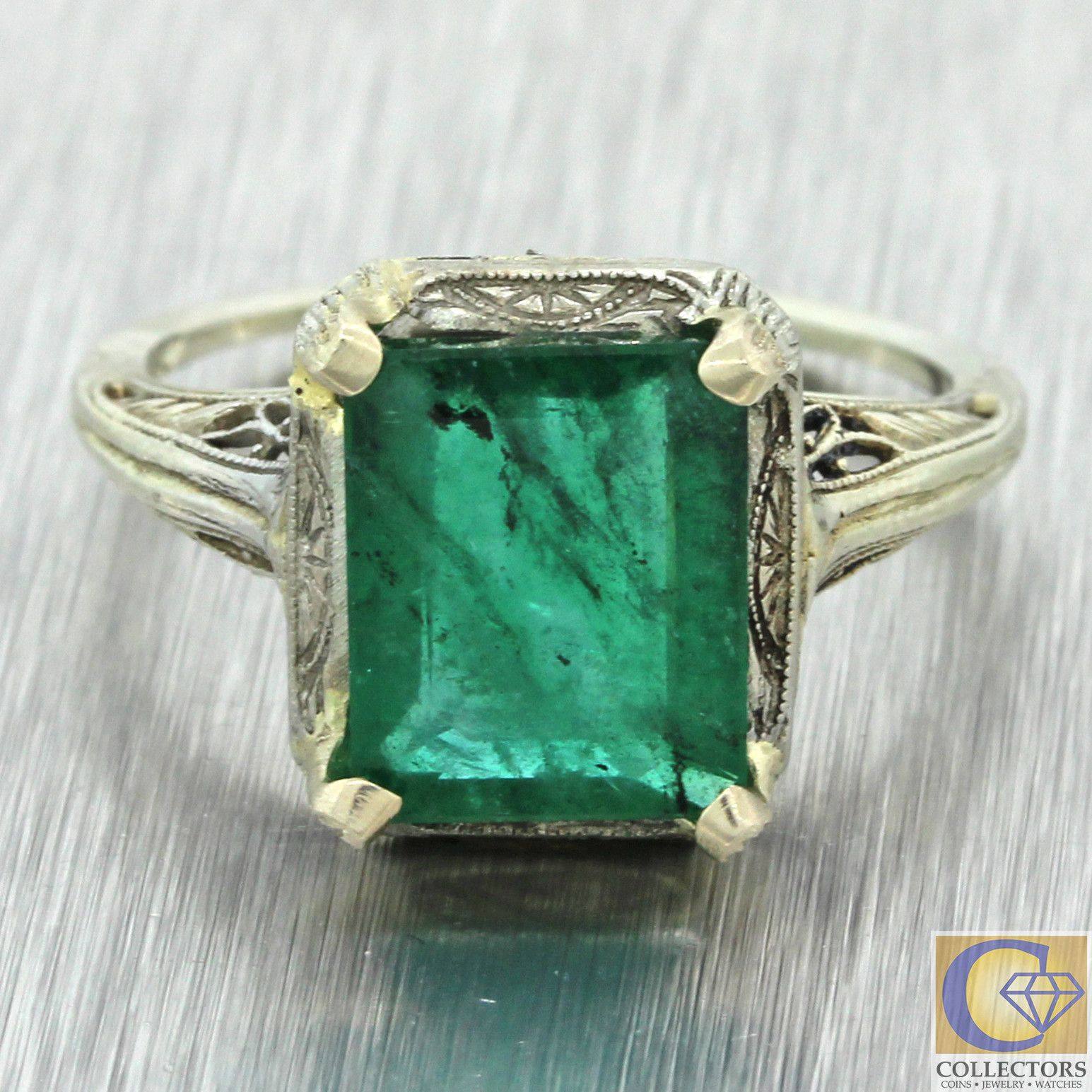 ring solid deco antique emerald gold yellow white art filigree pin
