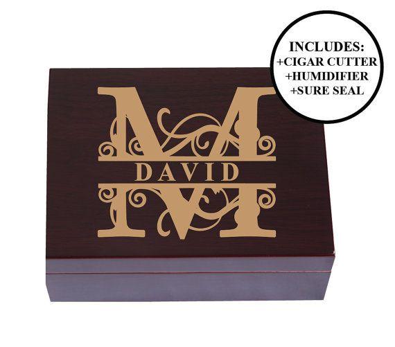 Personalized Cigar Humidor Man Gift Cigar Box by EngraveMyMemories