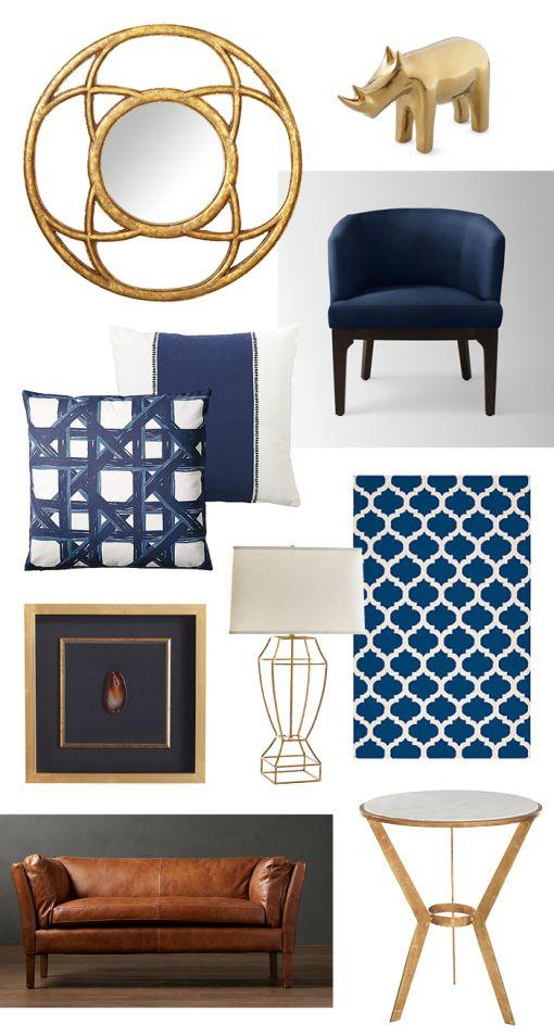 Navy And Gold Home Decor Gilt Interiors Pinterest