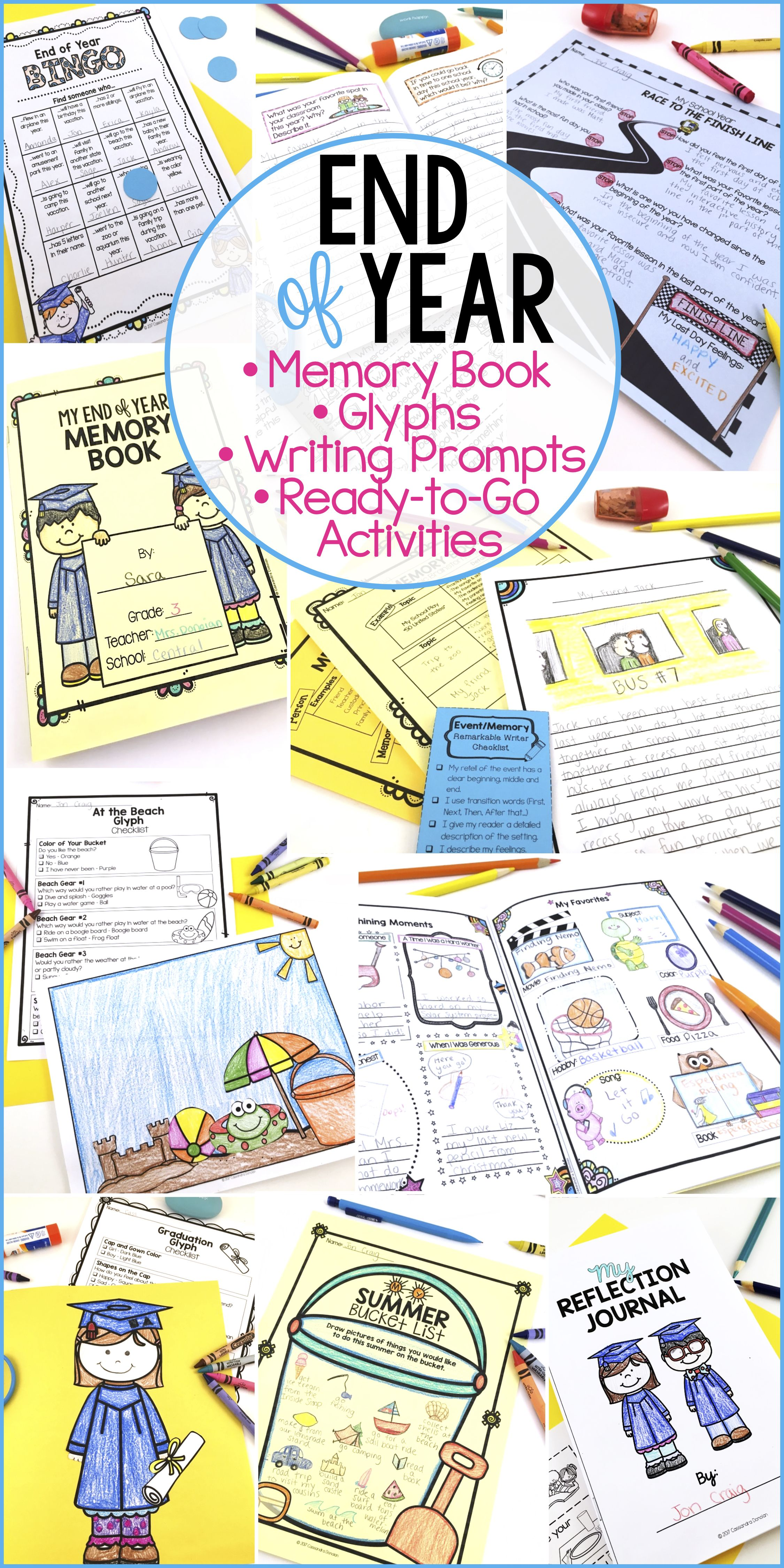 End Of Year Bundle Memory Book Writing Prompts Glyphs End Of