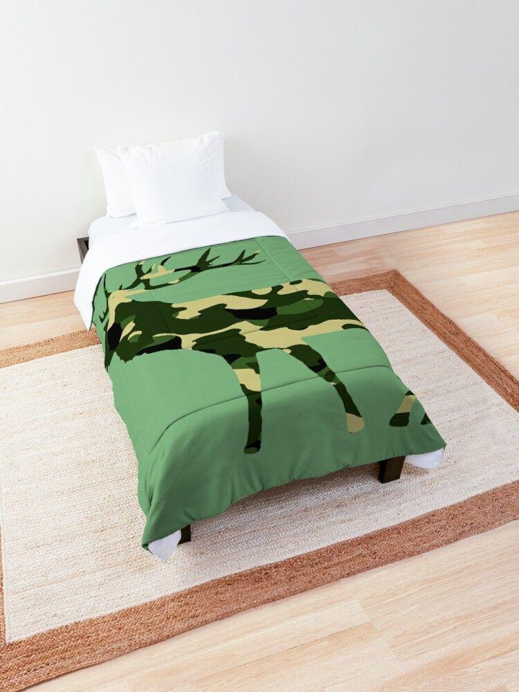 Deer In Camouflage Color Comforter By Rhnaturestyles Bettdecke