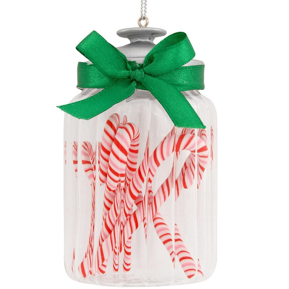 Christmas Decorations Candy Canes Jar With Candy Canes Glass Ornament  Candy Canes Ornament And Jar