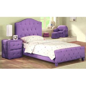 Diva Upholstered Twin Bed With Headboard Footboard Purple Box