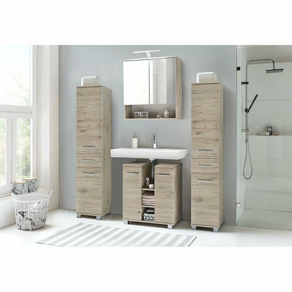 Details Zu Bad Badezimmer Set Spiegelschrank Hochschrank Waschbeckenunterschrank Eiche Sand In 2020 Badezimmer Set Waschbeckenunterschrank Hochschrank