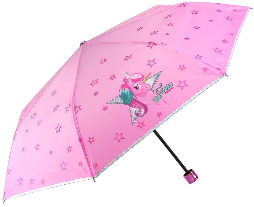 Einhorn Kinder Regenschirm Mädchen - Unicorn Taschenschirm Minischirm - Regenschirm Klein Windfest - Pink Rosa Sterne und Rand Silber mit Glitzern - 7+...