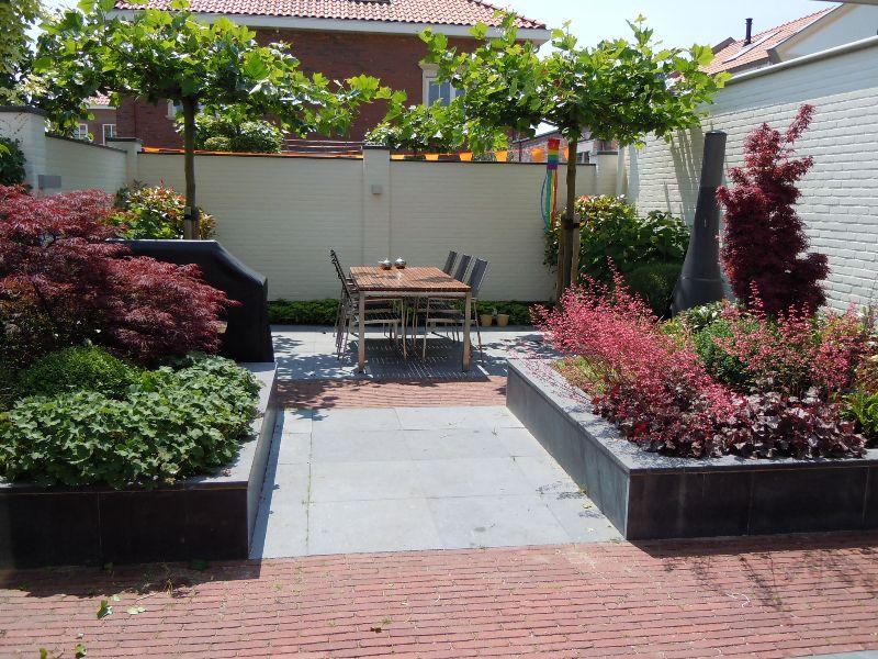 Zithoek in de schaduw van dakplataan tuin inrichting for Tuinontwerpen utrecht