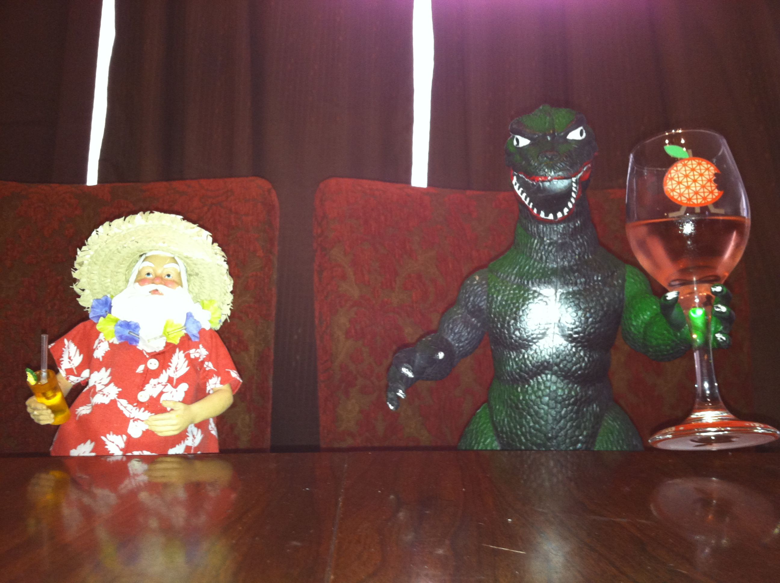 Godzilla Enjoys Hanging Out With Santa And Drinking Wine In His Downtime Hehe Visual Art Painting Hanging Out