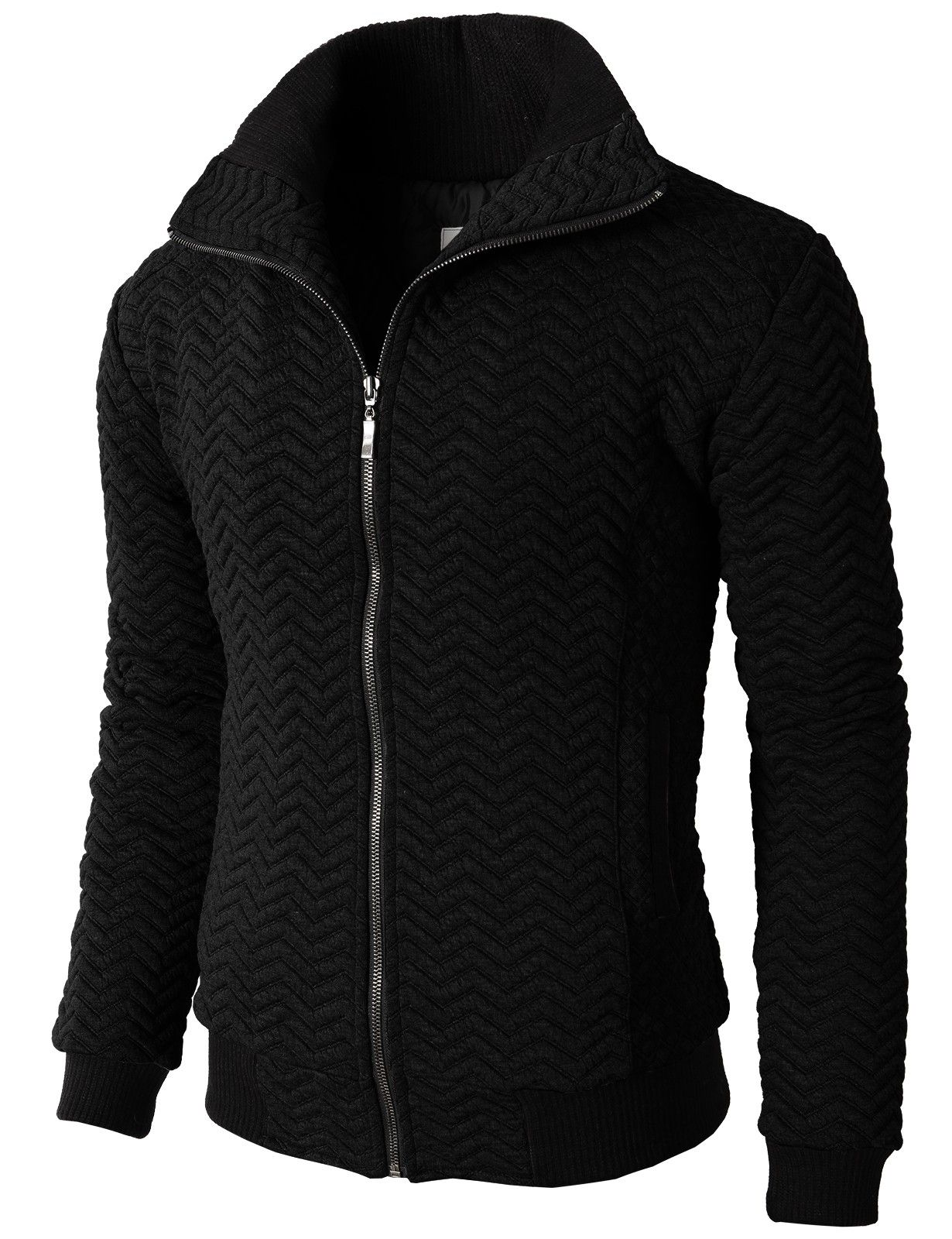 Doublju mens casual high neck zip up jumper with zigzag quilting