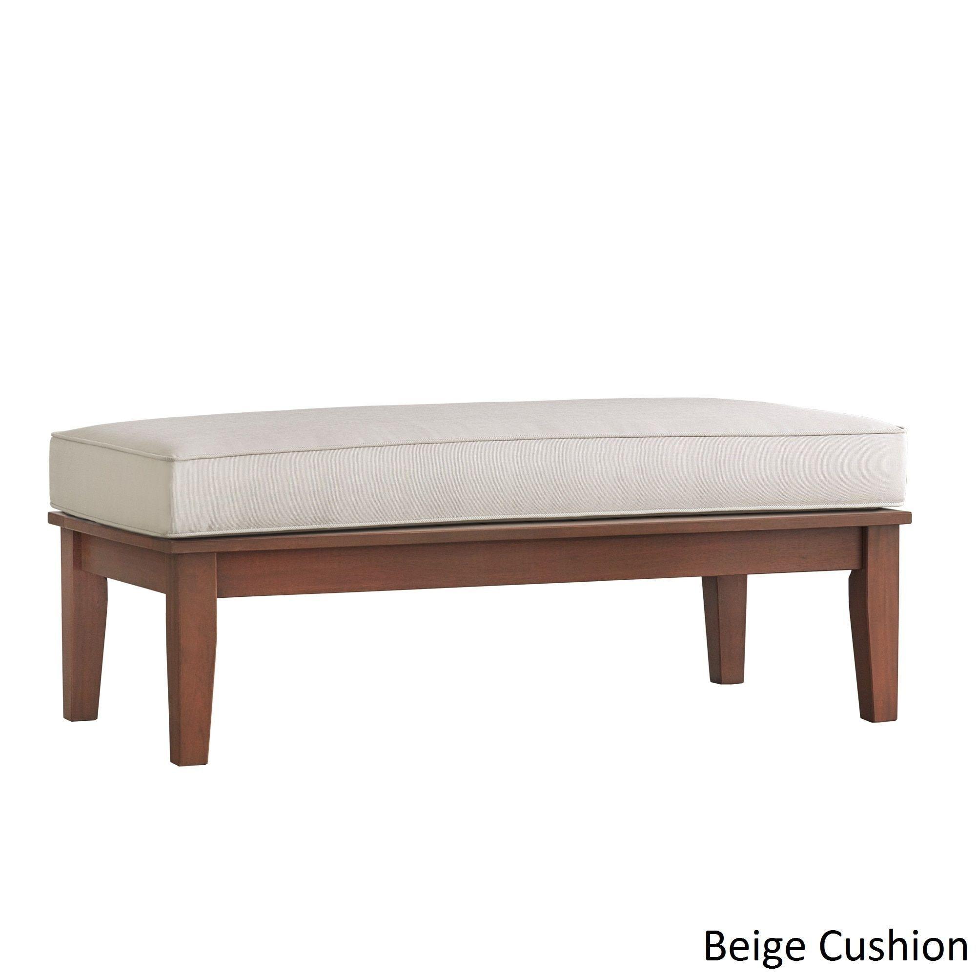 Yasawa Wood Brown Patio Cushioned Rectangular Coffee Table Ottoman iNSPIRE Q  Oasis (Beige (mini