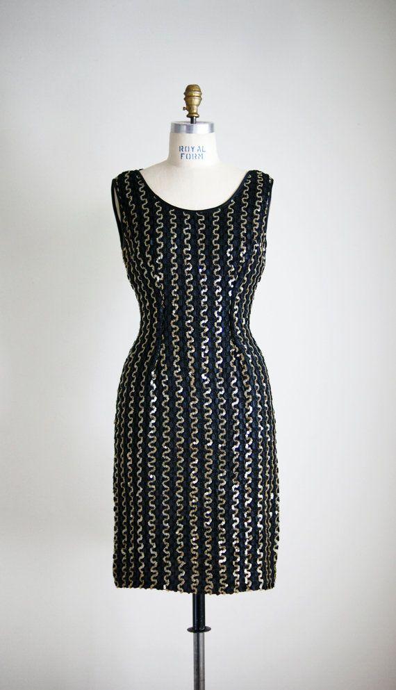 1960s CELEBRATION sequined cocktail dress