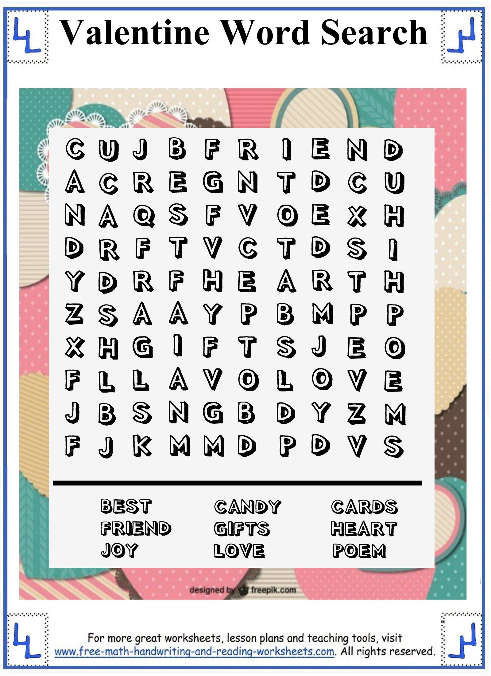 Valentine Word Search - Printable Puzzles - 10x10 wordsearch grid ...