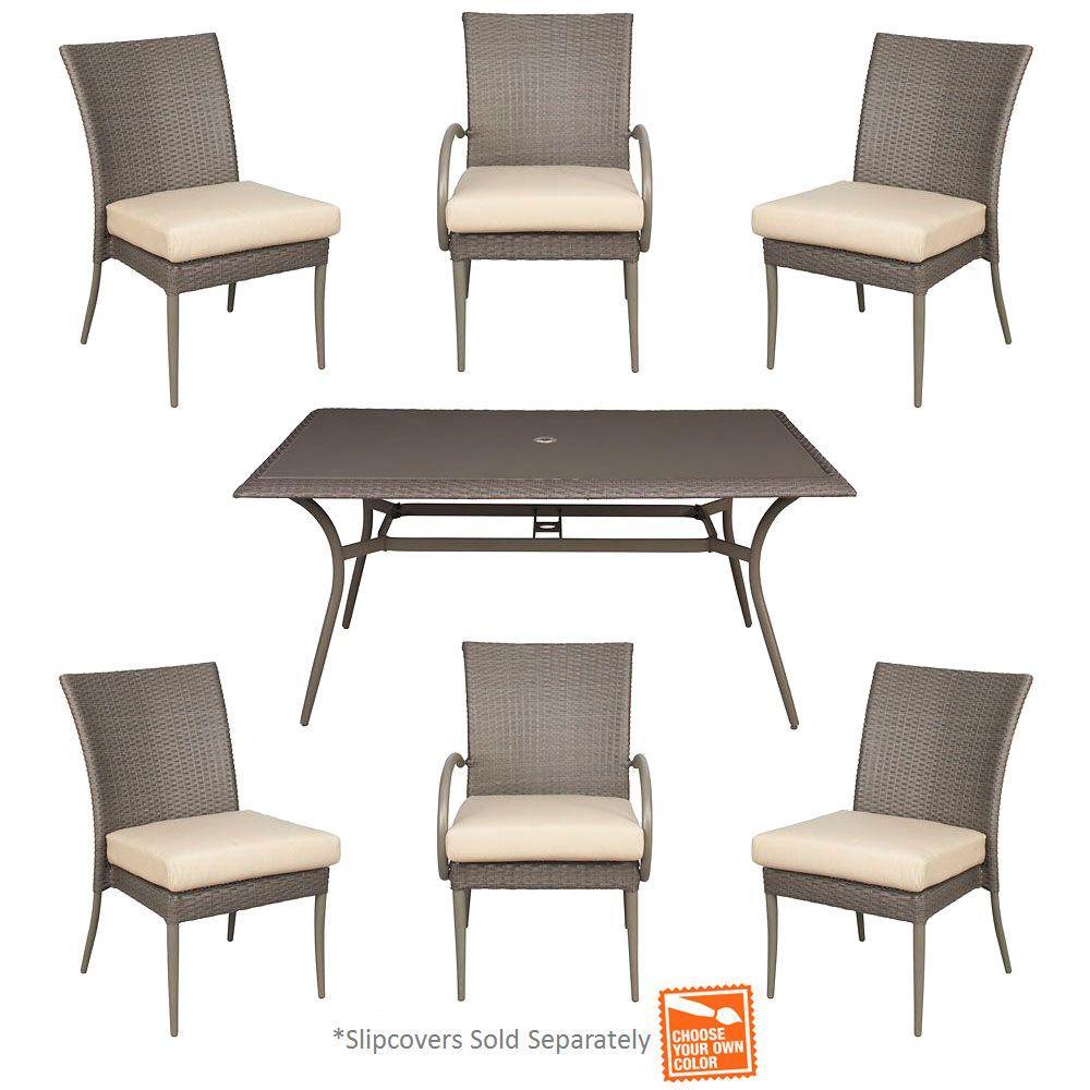 Hampton Bay Posada 7-Piece Patio Dining Set with Cushion Insert (Slipcovers Sold Separately)