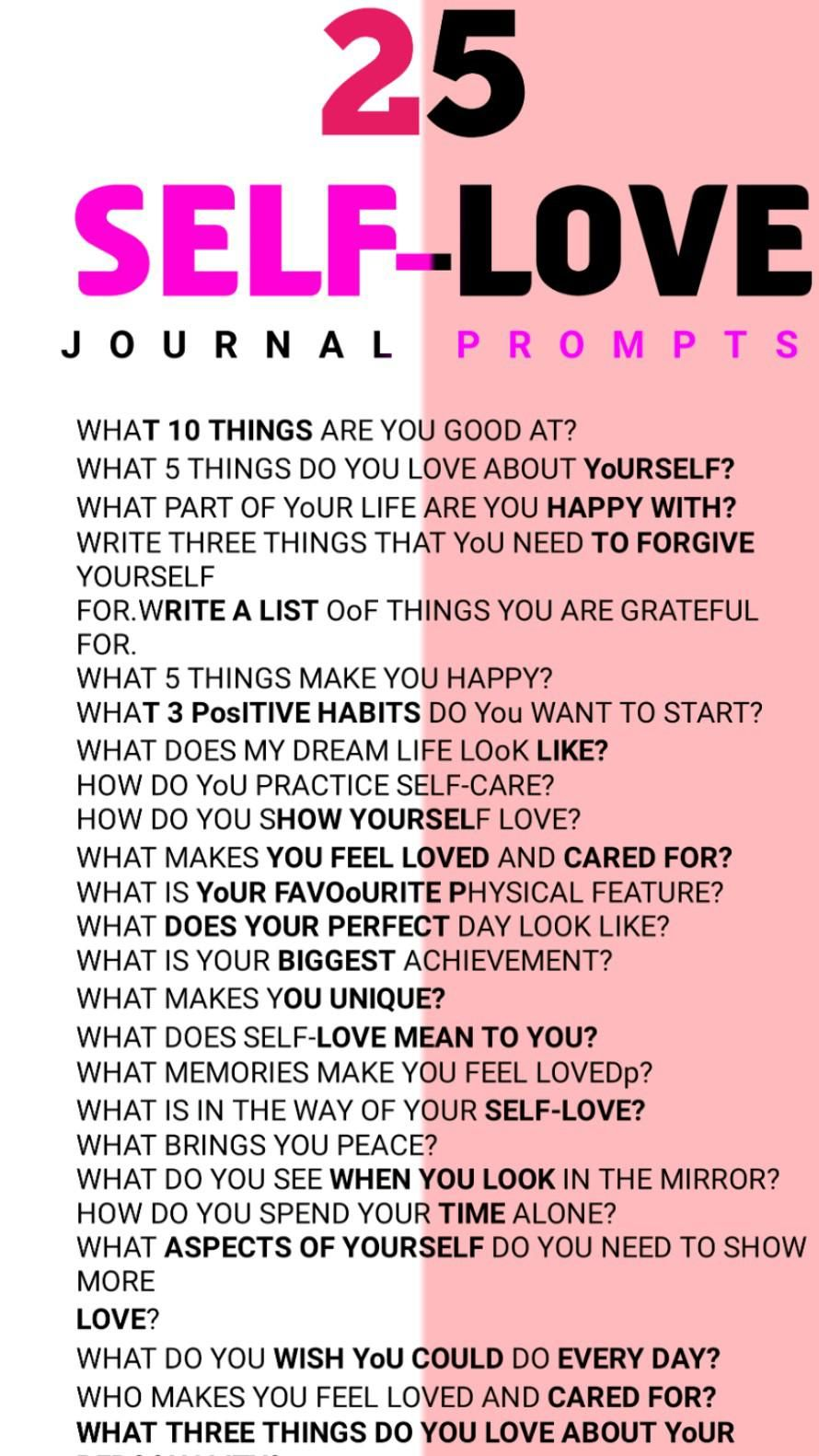 25 Journal Prompts For Self-Love-