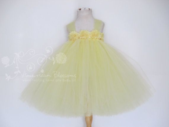 Pale Yellow Flower Girl Dress Tutu Dress Light by AmericanBlossoms, $58.00