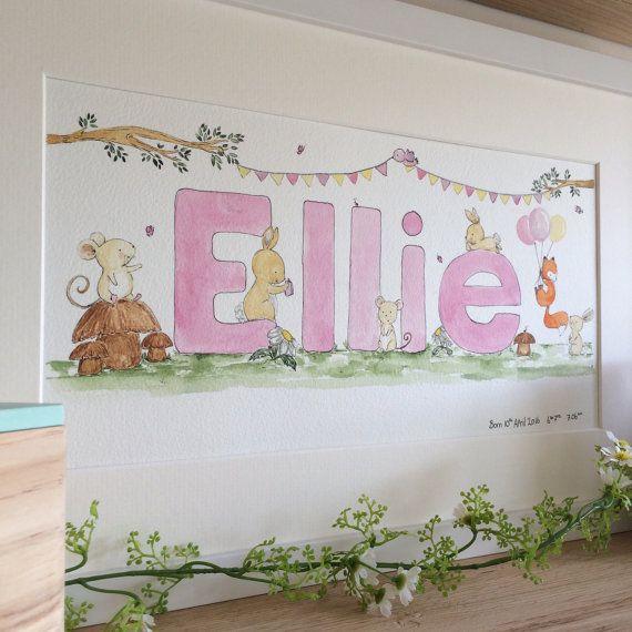 BabyNamensbild, Name Kunst, Kinderzimmer Wandkunst