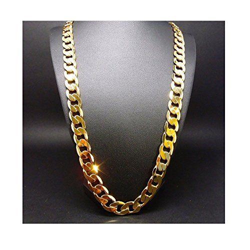 Chunky Necklace Men Punk Style 18K Gold Plated Byzantine Necklace