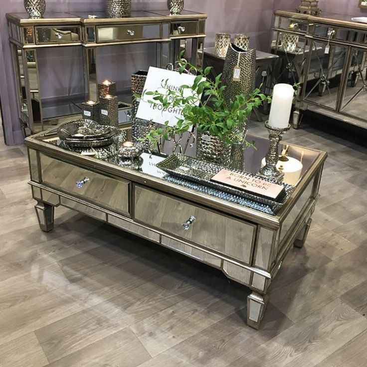 Best Canterbury 4 Drawer Champagne Gold Mirrored Coffee Table 400 x 300