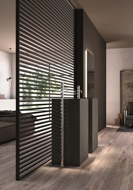 De stripe deur als scheidingswand tussen slaapkamer en badkamer ...