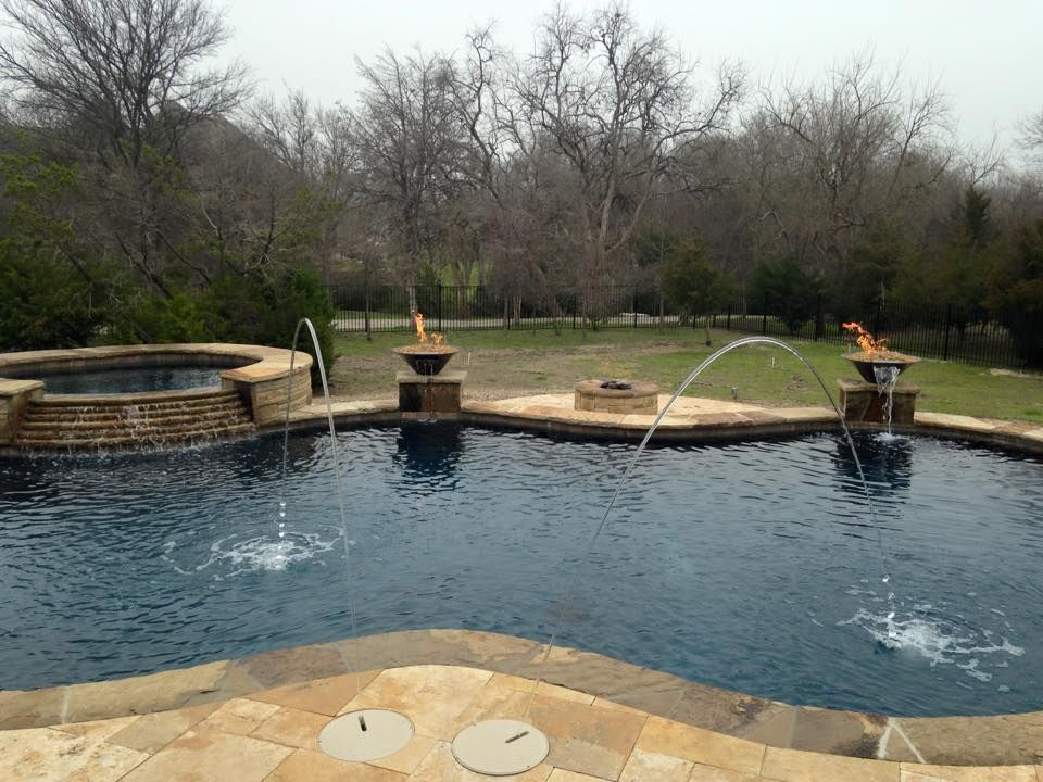 Copper Fire Wok Pots And Awesome Water Features Pool Picture