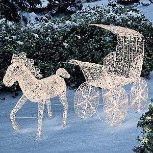 christmas horse carriage decorations improvements lighted horse and carriage yard art at hsncom polyvore - Christmas Horse Yard Decorations