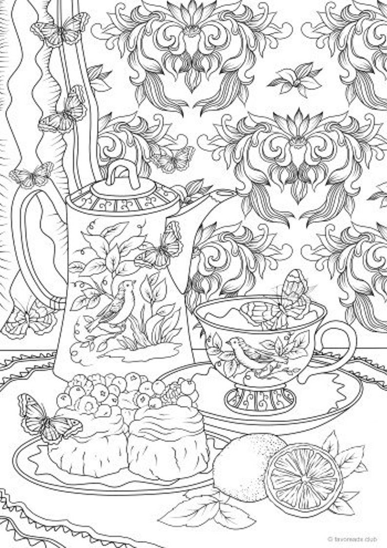 Tea Set Printable Adult Coloring Page From Favoreads Etsy In 2020 Detailed Coloring Pages Printable Adult Coloring Pages Adult Coloring Pages