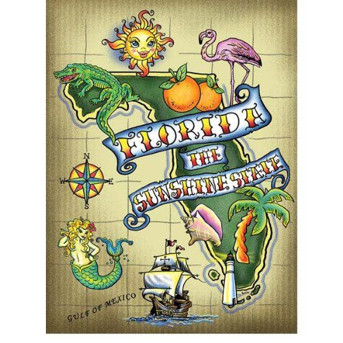 Inside A Tiny Florida Cottage Full Of Tropical Colors: Florida Sunshine Metal Sign Coastal Home Decor Wall Accent