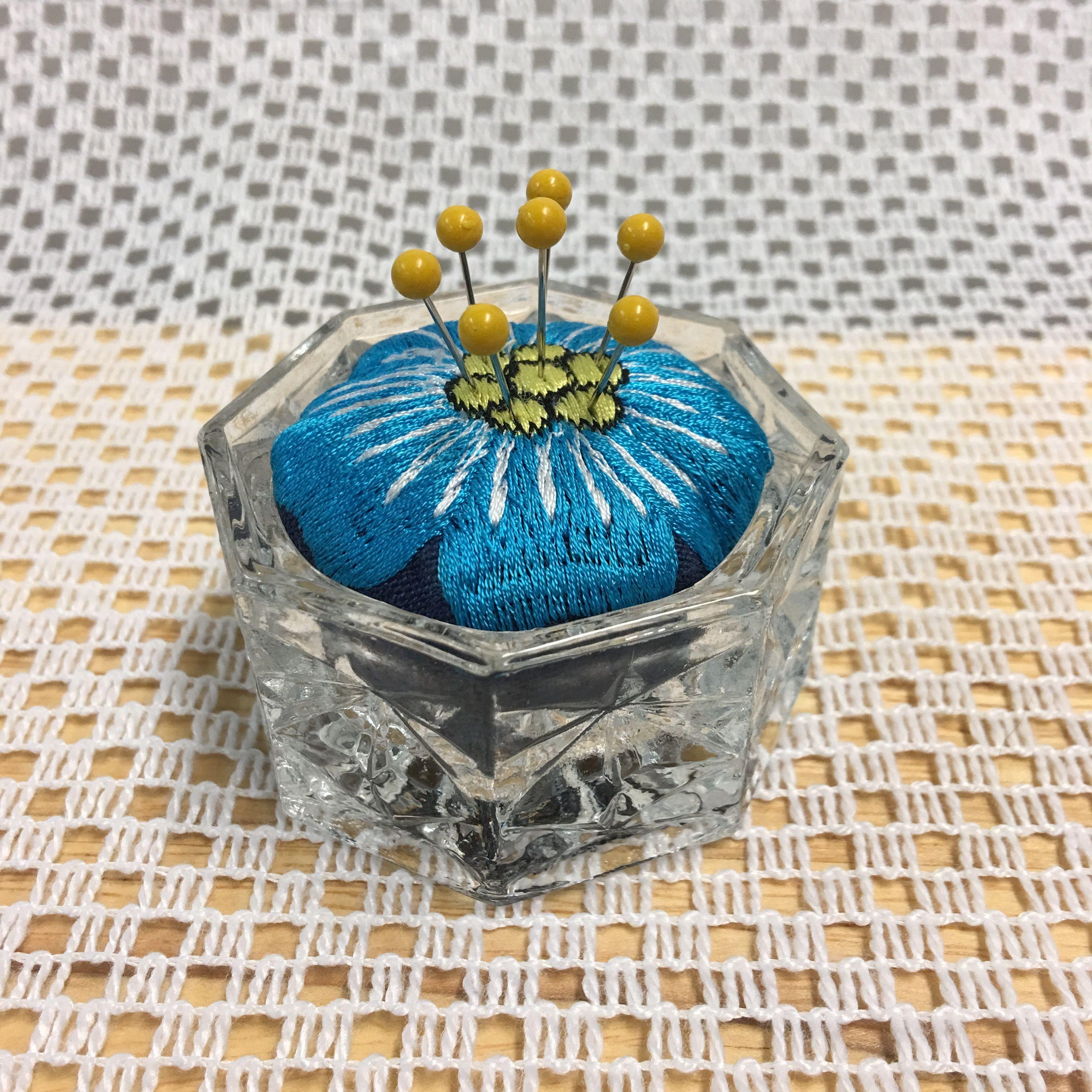 Crystal votive candle holder needle sharpener pincushion item x