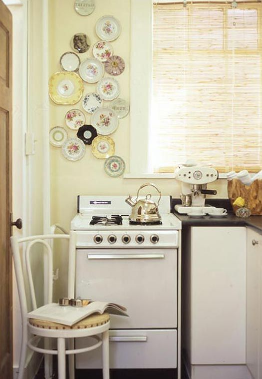 How Sweet   Vintage Inspired Farmhouse Kitchen With A Plate Collection On  The Wall! Check Out The Espresso Maker + Vintagey Stove.