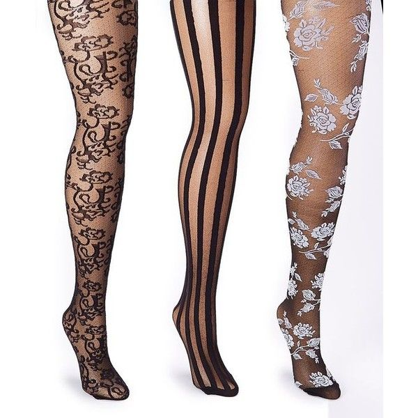f8e00e503 Isadora Black White Sheer Stripe Floral Tights Set Plus Too ❤ liked on  Polyvore featuring intimates