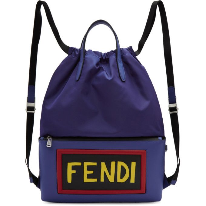 13217f015c FENDI Blue Nylon Logo Drawstring Backpack. #fendi #bags #leather ...