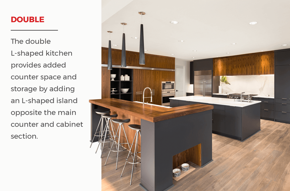 The double L shaped kitchen provides added counter space and ...