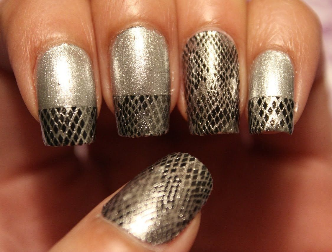 Snake Print Nail Art using nail art strips :)   Nail Art   Pinterest ...