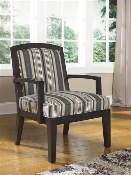 Yvette Casual Black Fabric Wood Accent Chair