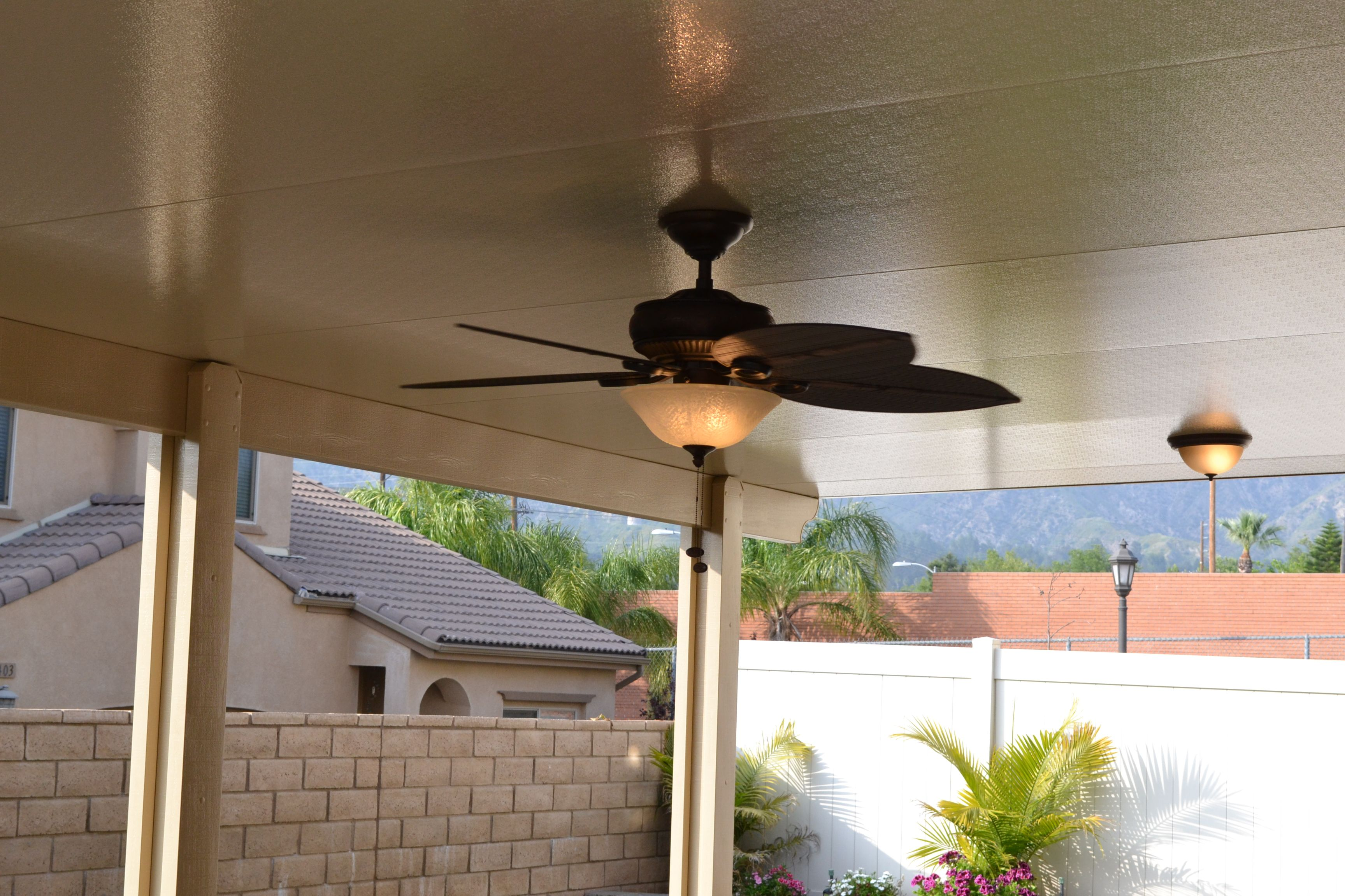 Ceiling Fan And Lighting To Solid Aluminum Patio Cover