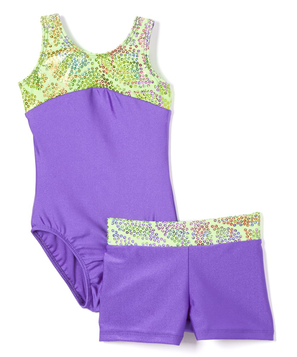 1ae1c12c2 Purple   Lime Sequin Leotard   Shorts - Girls