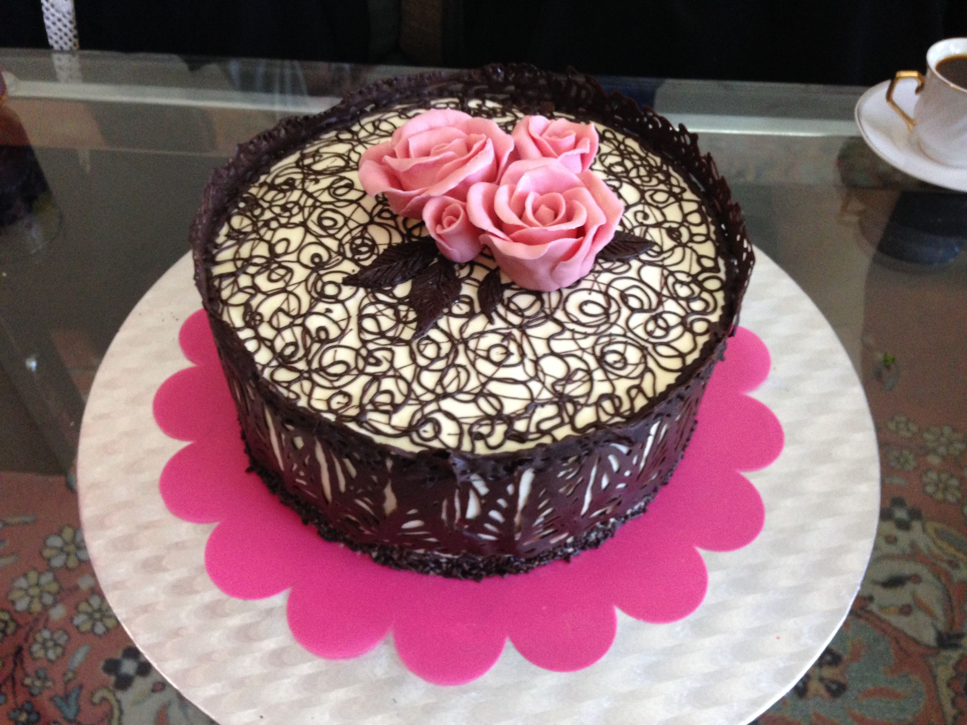 chocolate lace cake with white modeling chocolate flowers | My ...
