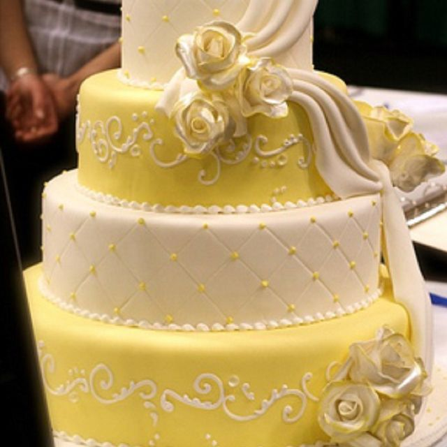 White and Yellow Quilted Wedding cake | Wedding | Pinterest ...