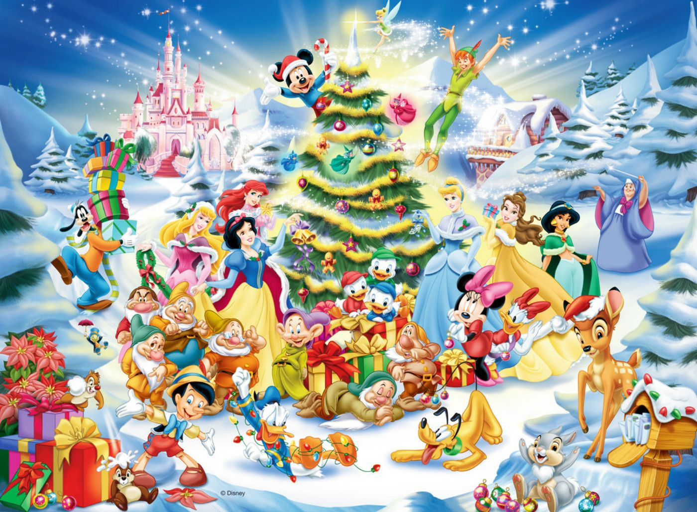 Download Disney Christmas Wallpaper Background 1400x1028