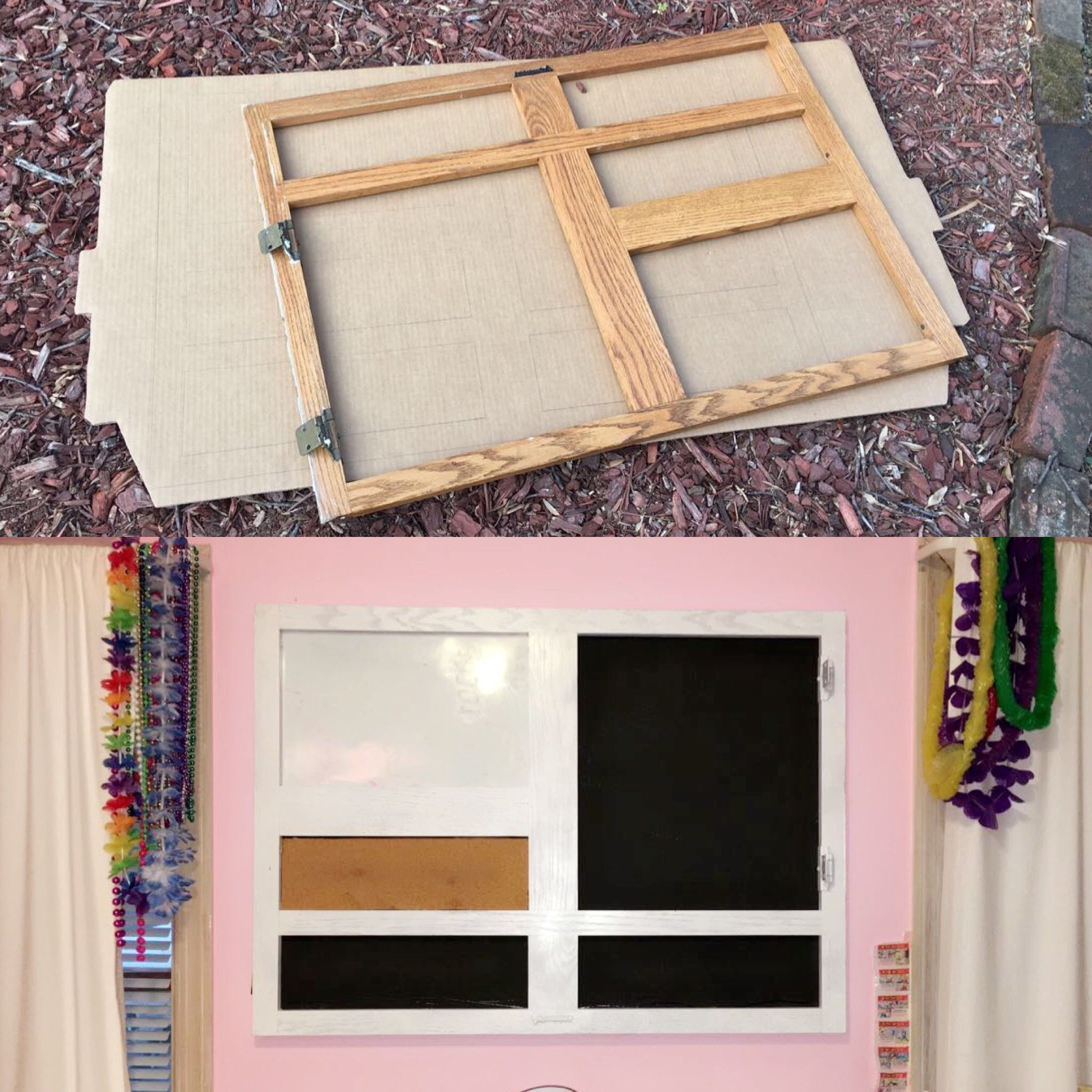 Old cabinet front turned into wall decoration whiteboard corkboard