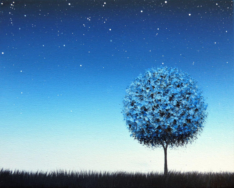 Blue Night Landscape Painting Starry Night Sky At Twilight Original Art Oil Painting Blue Tree Painting Starlight Mode Tree Art Poster Art Night Landscape